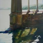 "Reflections of Orta 30"" x 22"" Watercolor on Aquabord Sold"